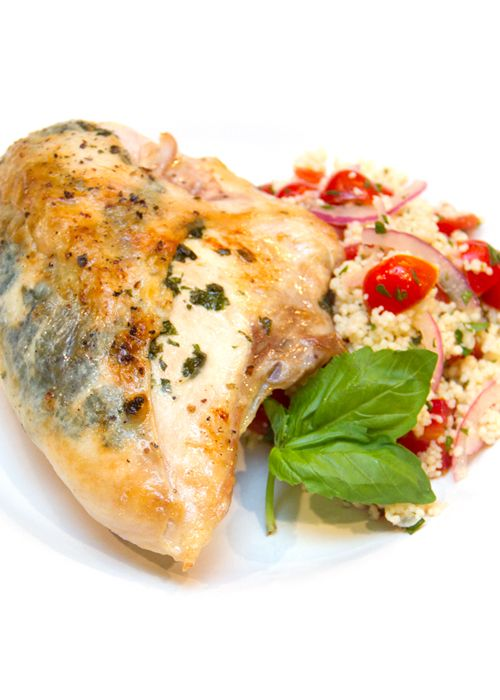 Roasted Chicken Breasts with Lemon & Basil Sauce and Couscous Salad