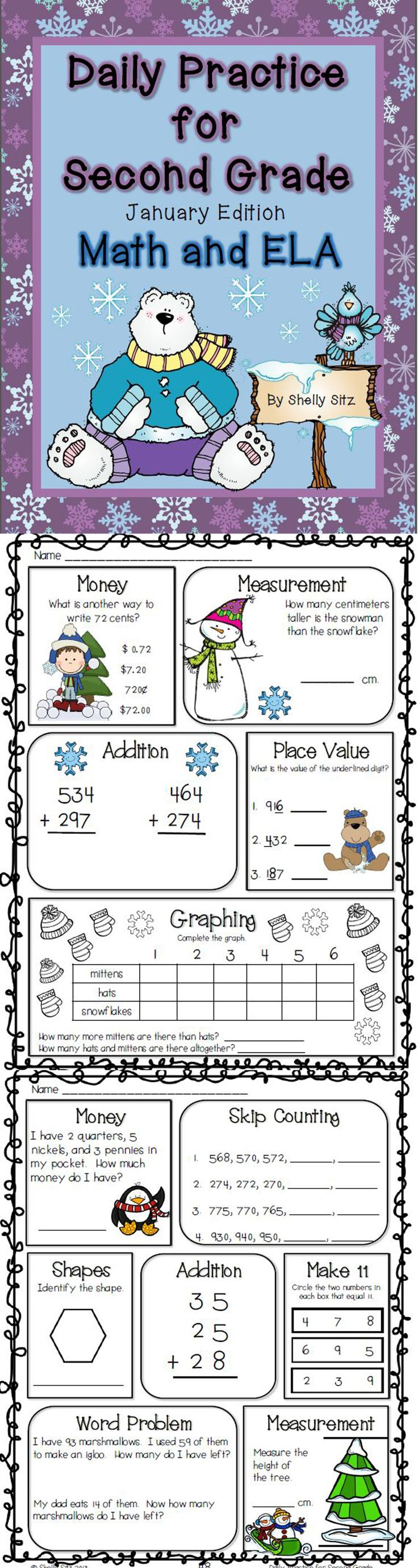Word problems and geometry winter themed worksheets for 2nd grade