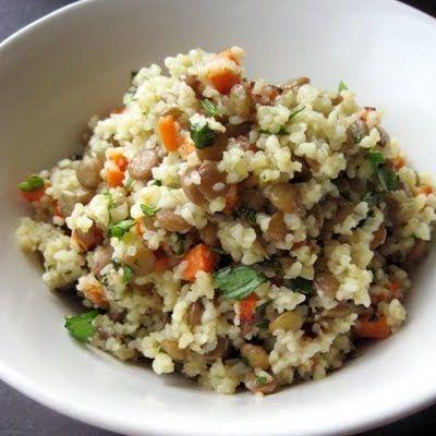 Warm Bulgur & Lentil Salad: bulgur, lentils, carrot, cilantro, salt ...