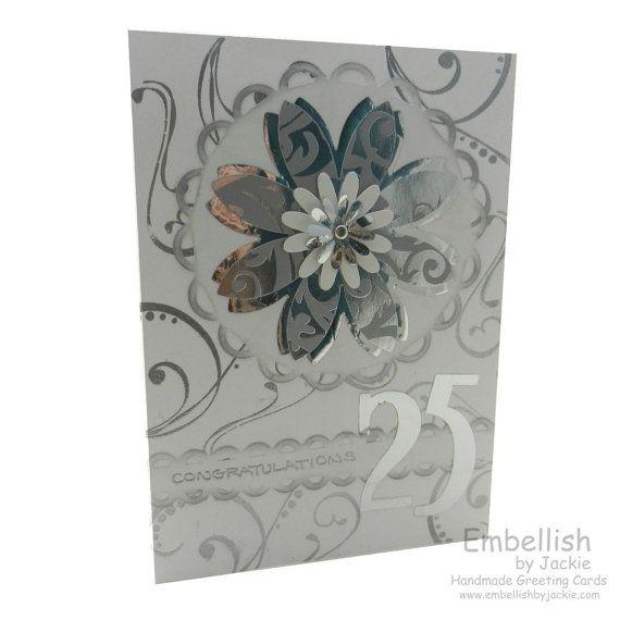 25th Anniversary Card Silver Flower 25th Wedding Anniversary Ca