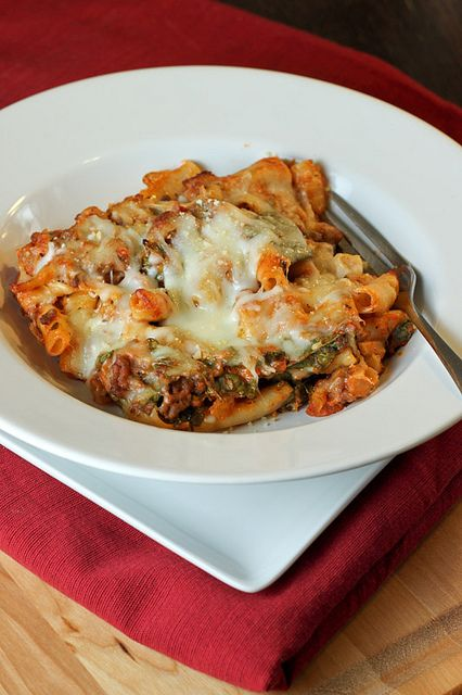 Lasagna-style Baked Ziti by Back to the Cutting Board, via Flickr
