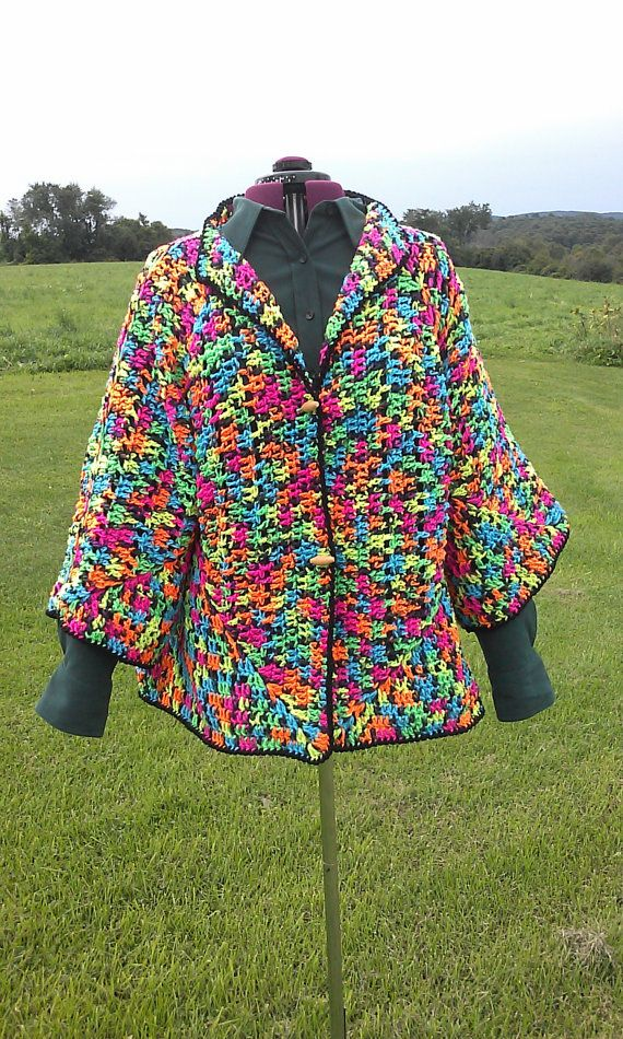 Crochet Patterns For Granny Square Sweaters : Crochet Jacket Sweater Granny Square