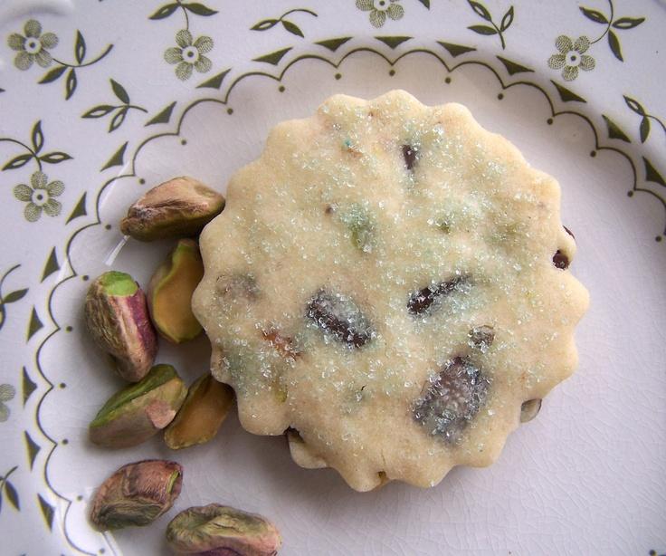 Pistachio Chocolate Shortbread - 1 Dozen Nutty Cookies