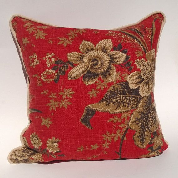 Red Tan And Brown Throw Pillows : Pillow Cover Red Linen With Tan, Brown, Gray Floral Pillow Cover With?
