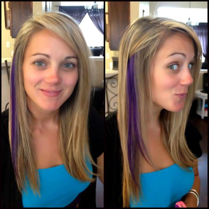 Blonde Hair Purple Peekaboos Blonde Highlights And Purple Peekaboo