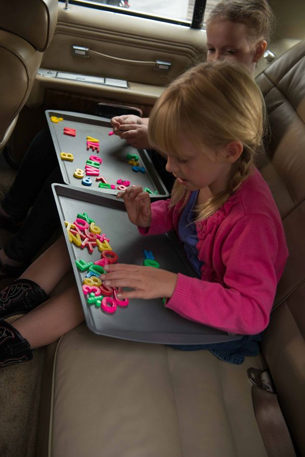 Baking Sheet + Magnets = Peace and Quiet. Get more road trip activities for kids >> http://blog.diynetwork.com/maderemade/2013/11/21/road-trip-tips-youll-be-thankful-for/?soc=pinterest