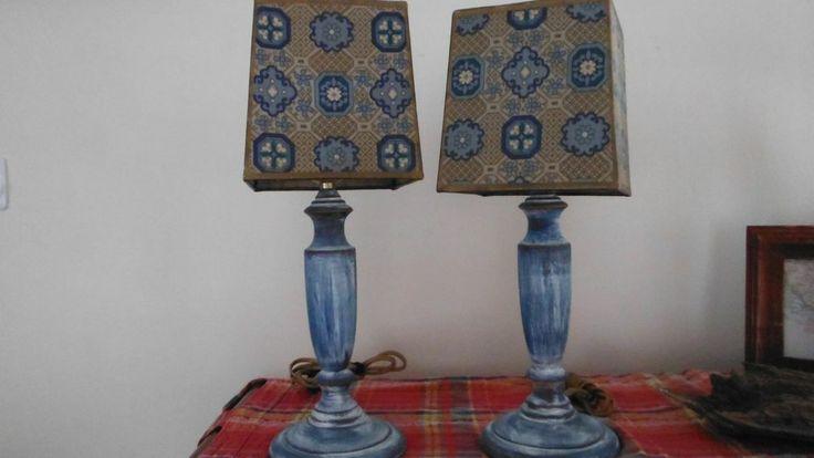 table lamps vintage distressed blue nautical summer cottage lake house. Black Bedroom Furniture Sets. Home Design Ideas