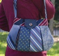 Necktie handbag made from recycled neck ties.