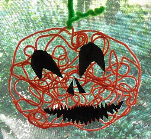 Yarn Art Pumpkin Jack O'Lantern Halloween Craft