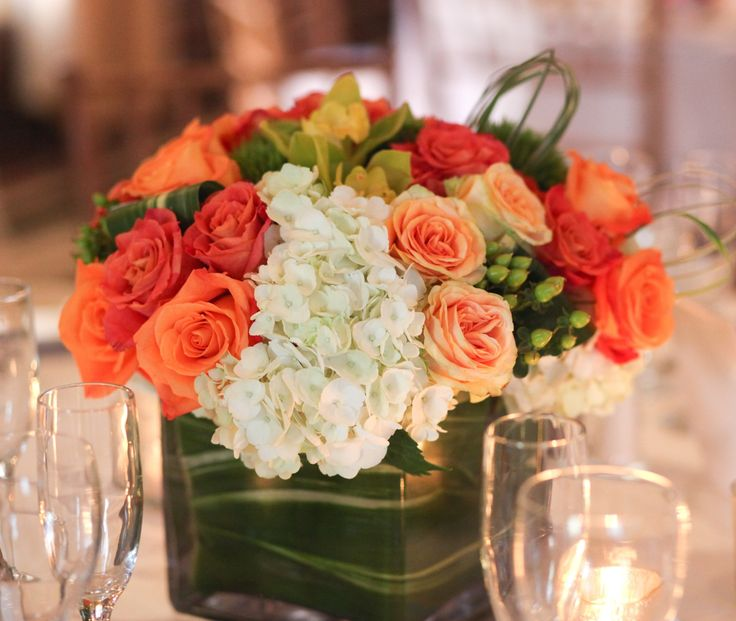 Coral roses with hydrangeas and orchids weddings