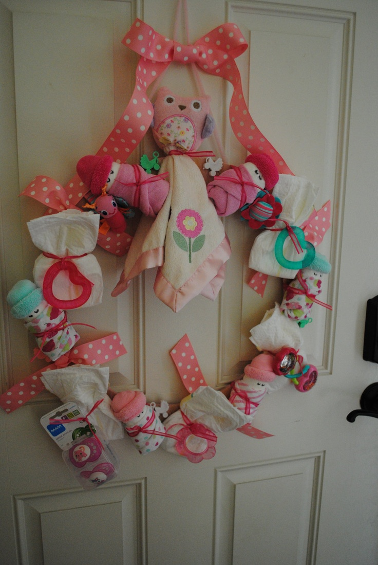 order baby shower wreath it 39 s a girl diaper baby girl wr