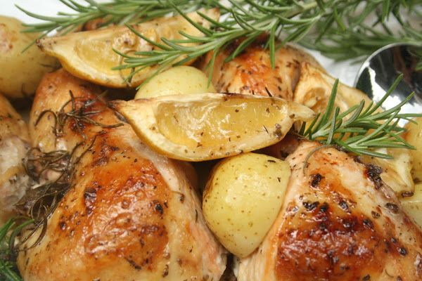 Lemon and Rosemary Roast Chicken | supper food | Pinterest