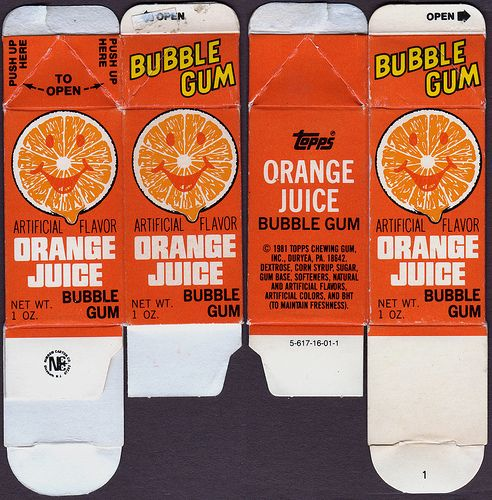 Juice Carton Bubble Gum- totally loved this gum.