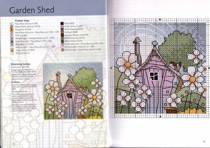 Схемы вышивки цветные домики 35