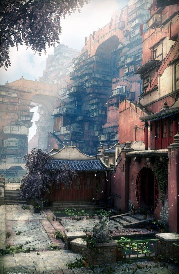 Sakura, Japan. CGI rendering by Stefan Morrell