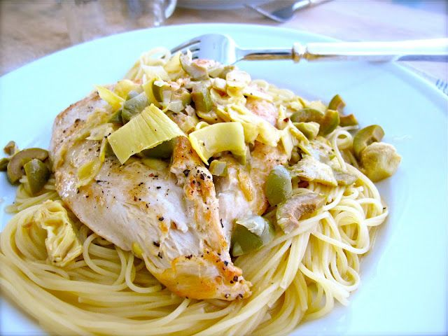 ... and Easy Chicken Artichokes & Olives with Angel Hair Pasta recipe