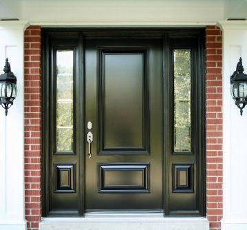 Black front door sidelights front doors pinterest for Black exterior door with sidelights
