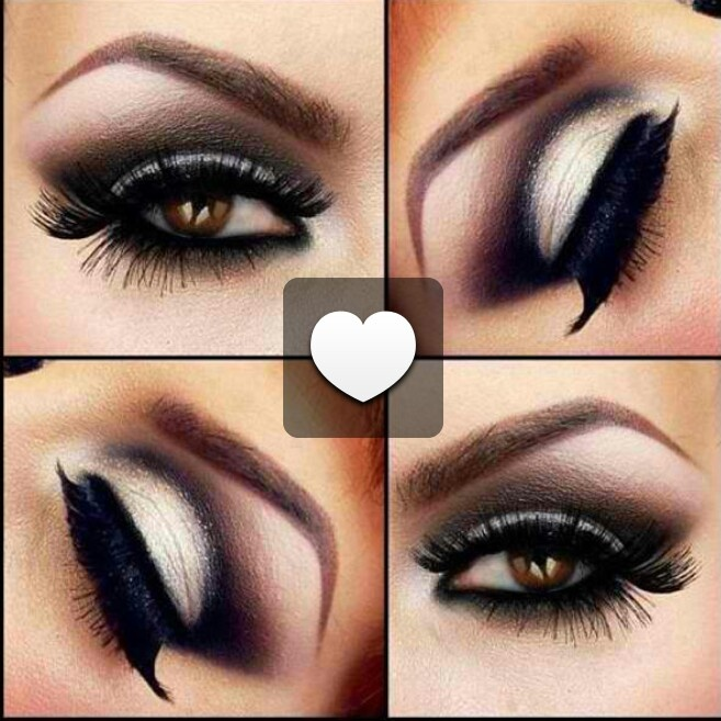 Dark sexy smokey eye for brown eyes. Black, gray and ...