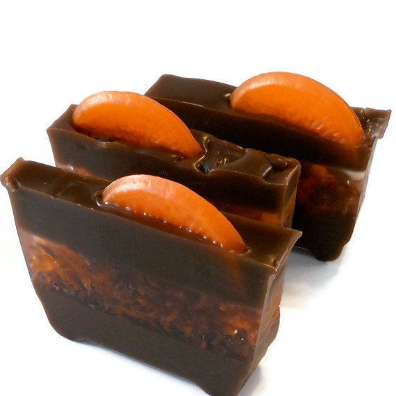 Mandarin Orange Chocolate Sherbet Bath Soap 1 Bar . $5.00, via Etsy.