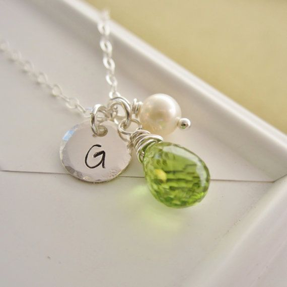 August birthstone necklace personalized green peridot necklace cust