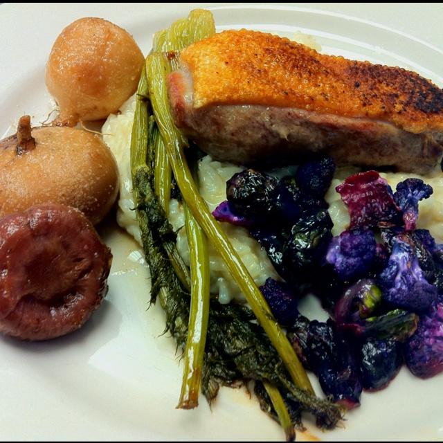 Tea Smoked Duck Breast with Purple Heirloom Cauliflower, Roasted ...