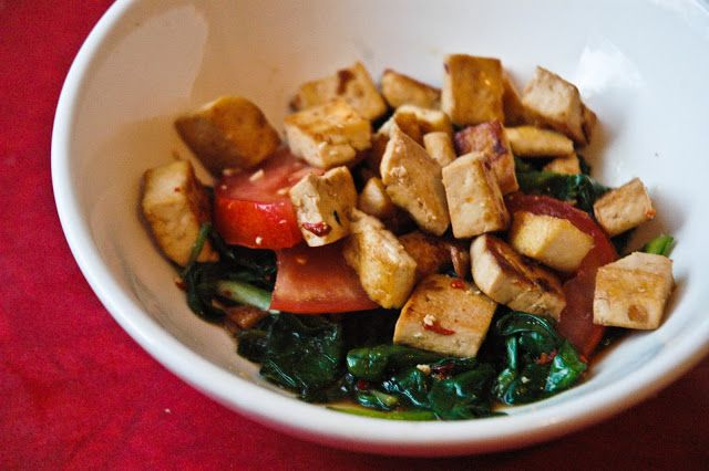 Marinated spicy tofu and spinach salad | Food | Pinterest