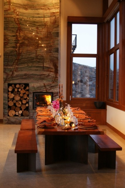 dining room with granite fireplace for the home