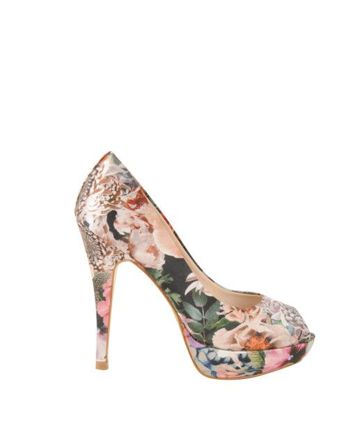 TED BAKER Womens Multi Colour SATIN FLORAL PEEP TOE HEELED SHOES main