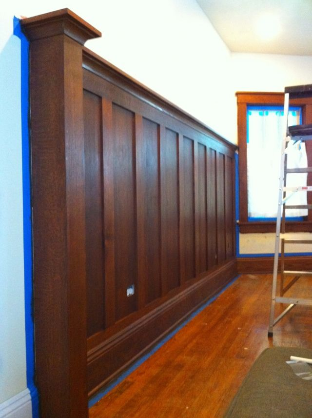 Stained solid wood wainscoting oh my arts crafts for Arts and crafts wainscoting