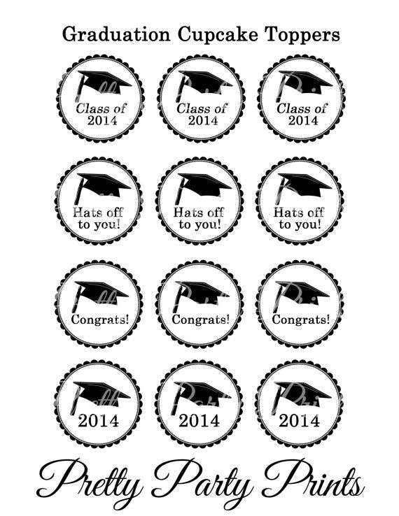 Printable Cupcake Toppers Graduation Class of by PrettyPartyPrints, $1 ...