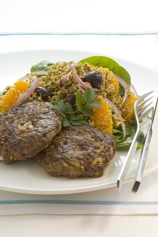 Turkish Lamb Burgers With Cherry Tabbouleh Recipe | Allyson Gofton