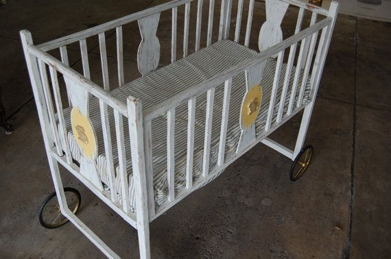 Shabby chic baby crib bassinet on wheels vintage baby for Baby bed with wheels