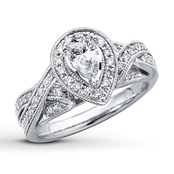 Pear Shaped Vintage Style Engagment Ring