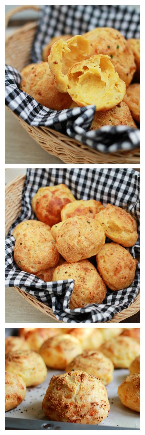 Gougeres - French Cheese Puffs - #yum #foodgasm #foodporn