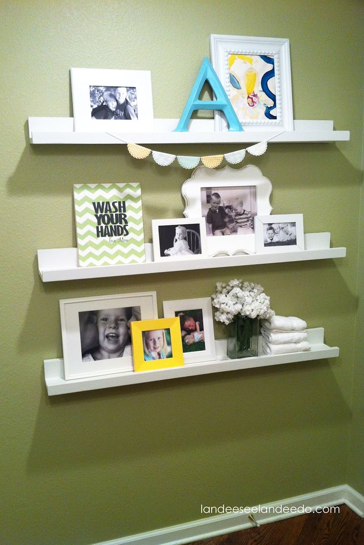 Bathroom ledges gallery wall pinterest for Gallery wall shelves
