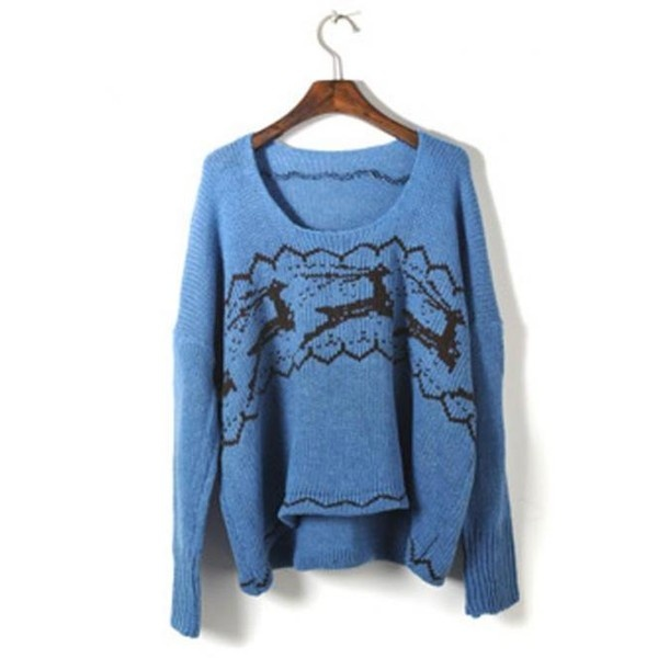 Blue Christmas Deer Sweater$43.00 ($43) found on Polyvore