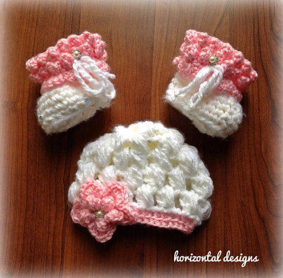 Newborn Baby Girl Hat and Booties, Crochet Newborn Hat ...