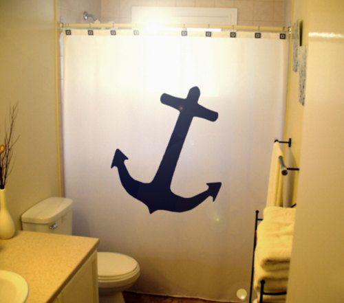 Anchor Shower Curtain Nautical Bathroom Decor Kids Bath Ship Boat Sai