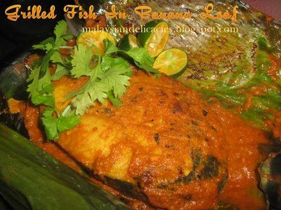 Grilled Fish in Banana Leaf - Fish marinated with spices ,wrapped in ...