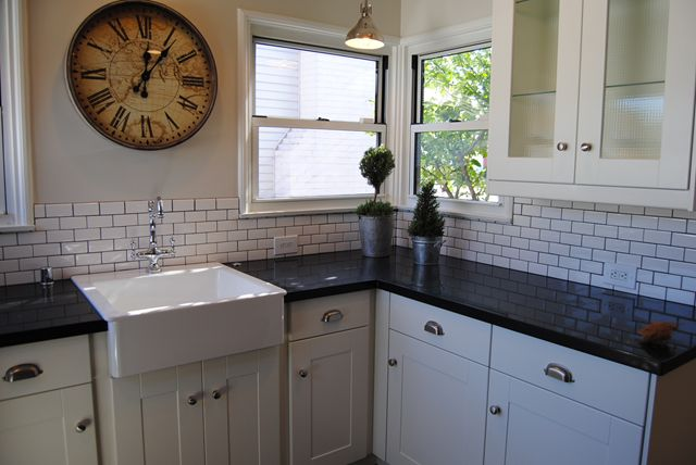 All of the cabinets are from IKEA as well as the farmhouse sink The