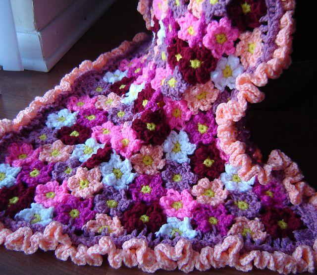 Crochet 3d Flower Baby Blanket Free Pattern : crochet flower baby blanket pattern