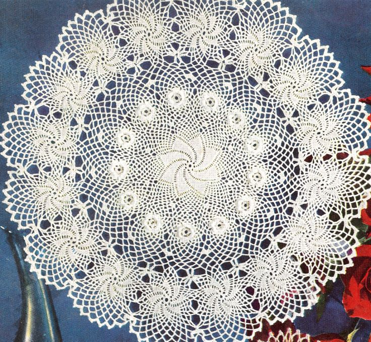Irish Doilies Crochet Free Patterns : Vintage Crochet Doily Pattern Erin Irish Rose Flower ...