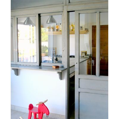 Verri re sur cuisine structure en bois d co verri re - Verriere interieure cuisine ...
