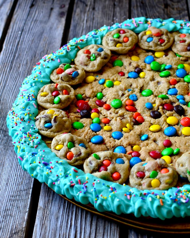giant chewy chocolate chip m amp m cookie cake gluten free ...