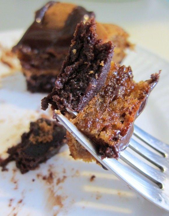 flourless chocolate and peanut butter cake with warm chocolate glaze ...