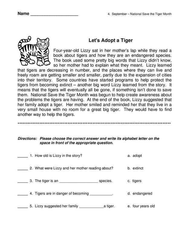 Free worksheets 3rd grade reading comprehension