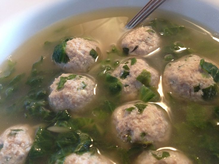 Day #48 ~ Escarole Soup with Turkey Meatballs. http://www.skinnytaste ...