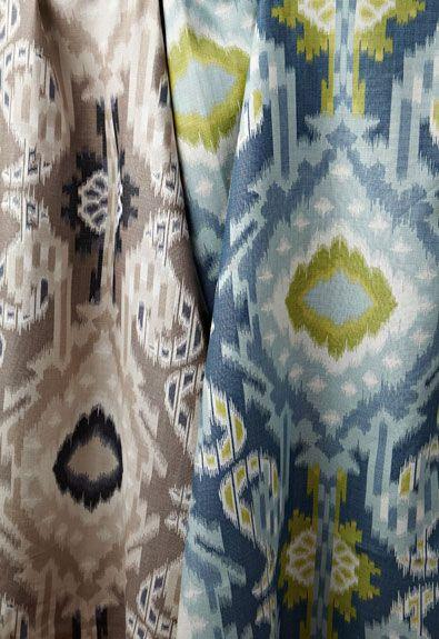 Kiribati Ikat Print in Linen, 174981. http://www.fschumacher.com/search/ProductDetail.aspx?sku=174981  Kiribati Ikat Print in Aquamarine, 174982. http://www.fschumacher.com/search/ProductDetail.aspx?sku=174982 #Schumacher