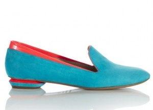 You don't have to wear skyscraper heels to be fashionable. These Nicholas Kirkwood flats—check out the patrician Brooks Bros. slipper vibe—have great sculptural lines married to psychedelic colors.