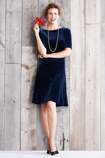 Women s plus size elbow sleeve velvet dress